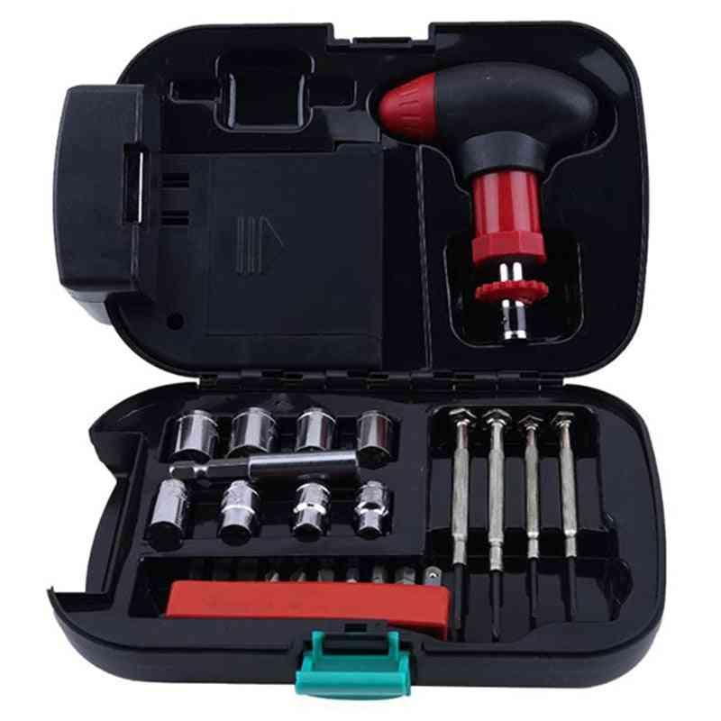 25pcs- Car Tool Box, Switch Sockets, Heads Screwdrivers, Set Tools