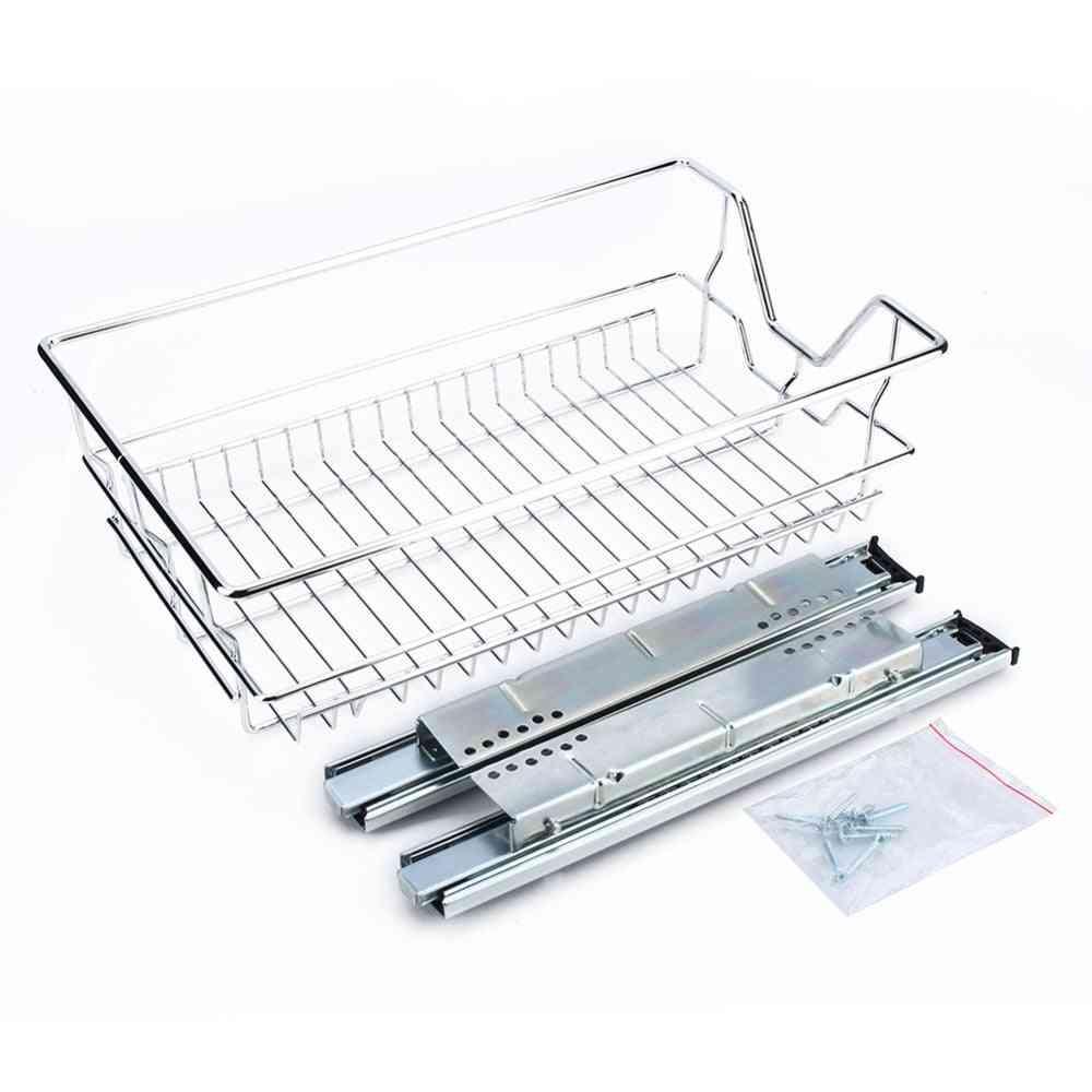 Kitchen Sliding Cabinet Organizer,pull Out Chrome Wire Storage Basket Drawer Kitchen Cabinets