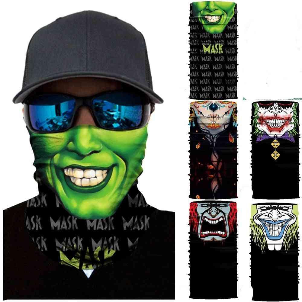 Seamless Magic Headband Skull Ghost Clown Neck, Face Cover Headwear, Halloween Bandana, Uv Protection, Biker Cover Scarf