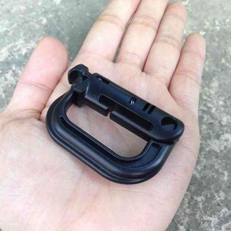Shackle Carabiner Clip, Molle Webbing Attach Quickdraw Connect Link Backpack, Outdoor Camp, Hike, Mountain Buckle Snap Lock