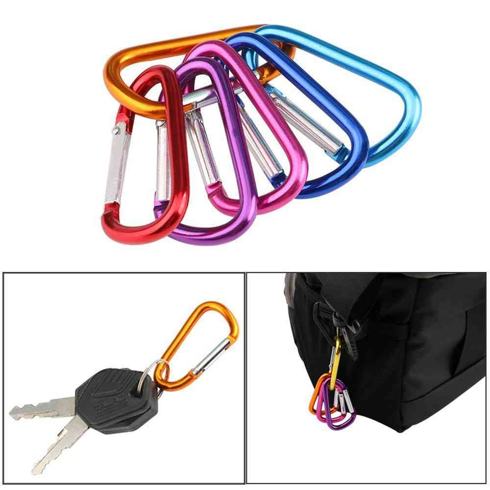 Carabiner Key Chain Clip, D-ring Locking Hooks, Aluminum Backpack, Camping, Hiking