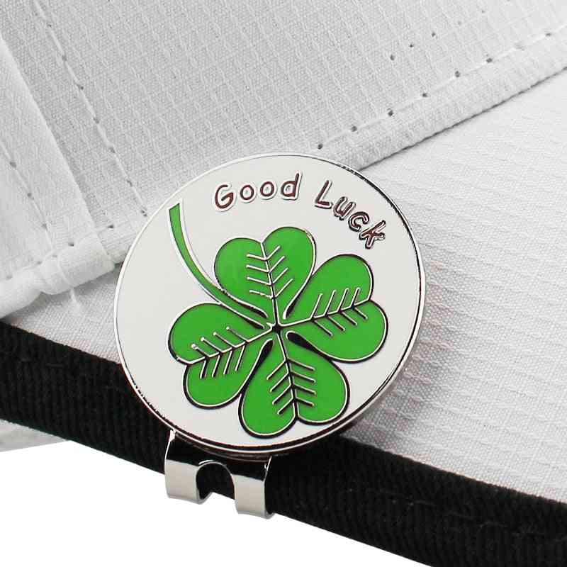 Lucky Clover Golf Ball Mark, Magnetic Hat Clip, Four Leaf Training Aids