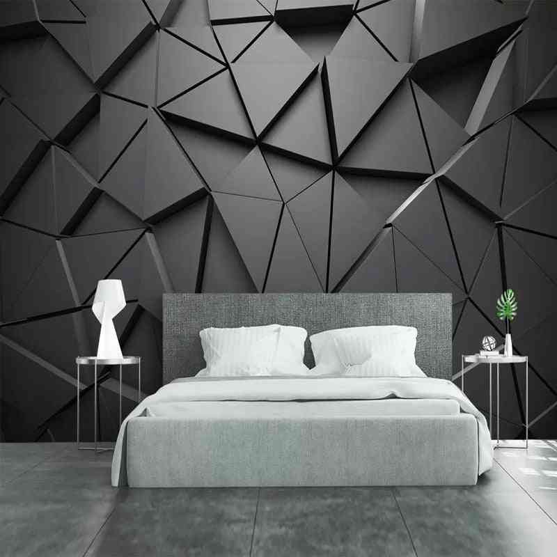 Creative 3d Geometric Abstract Gray Triangle Large Mural