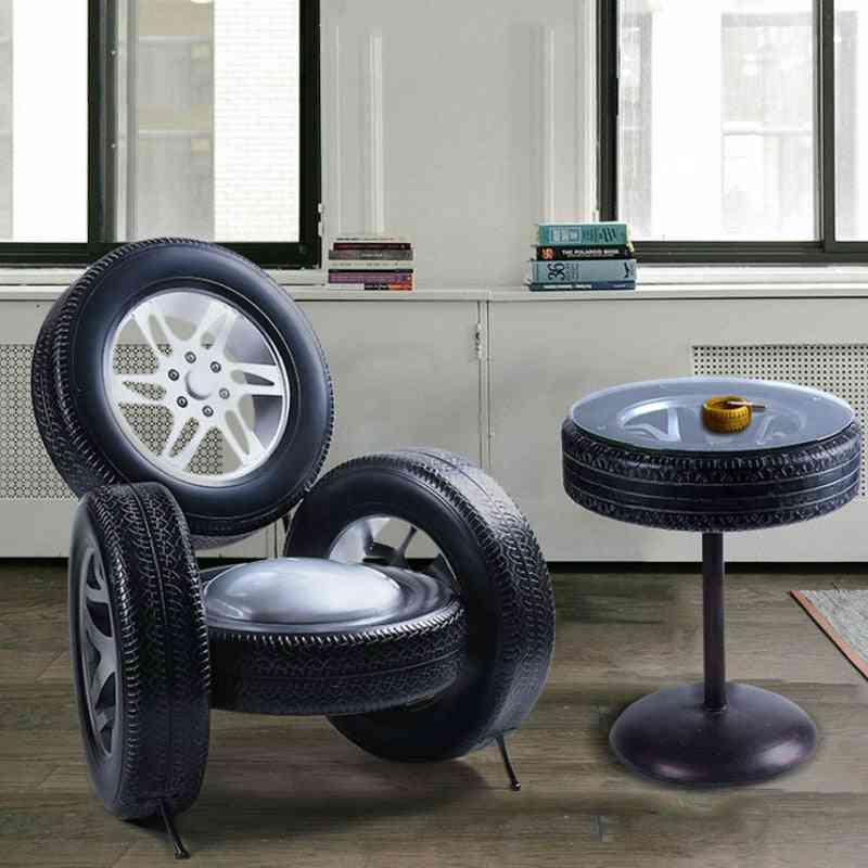 Retro Iron Tires Dining Table Set