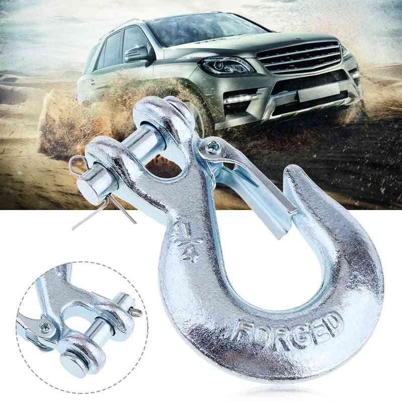 1/4'' Winch Cable Hook, Clevis Rigging, Tow Latch, Spring-loaded, Accessories