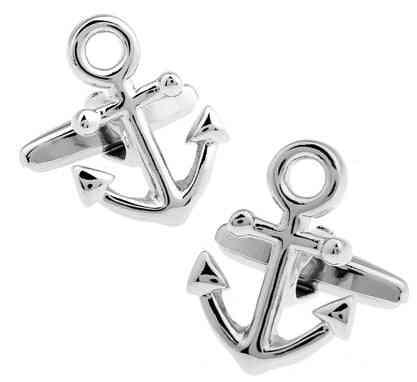 Cufflinks Sport Anchor Design, Brass Material, For Seaman