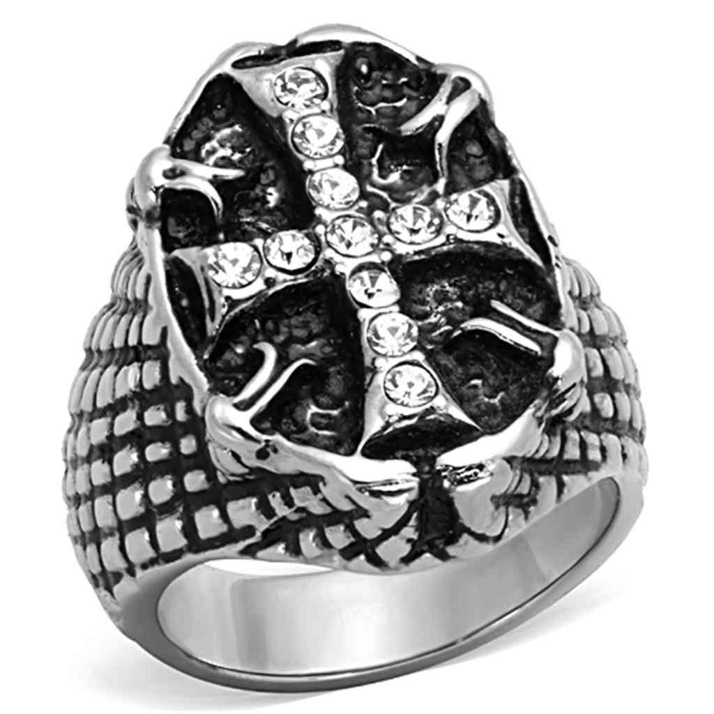 Men Stainless Steel Synthetic Crystal Rings