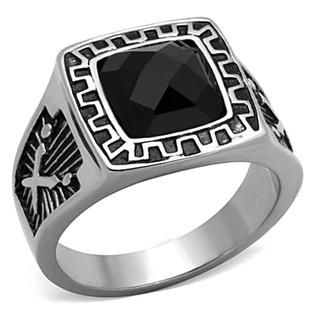 Men Stainless Steel Synthetic Glass Rings