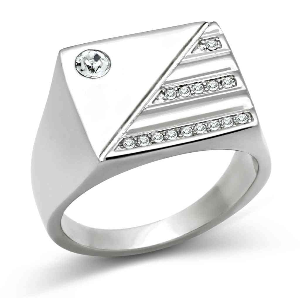Stainless Steel Synthetic Crystal Ring