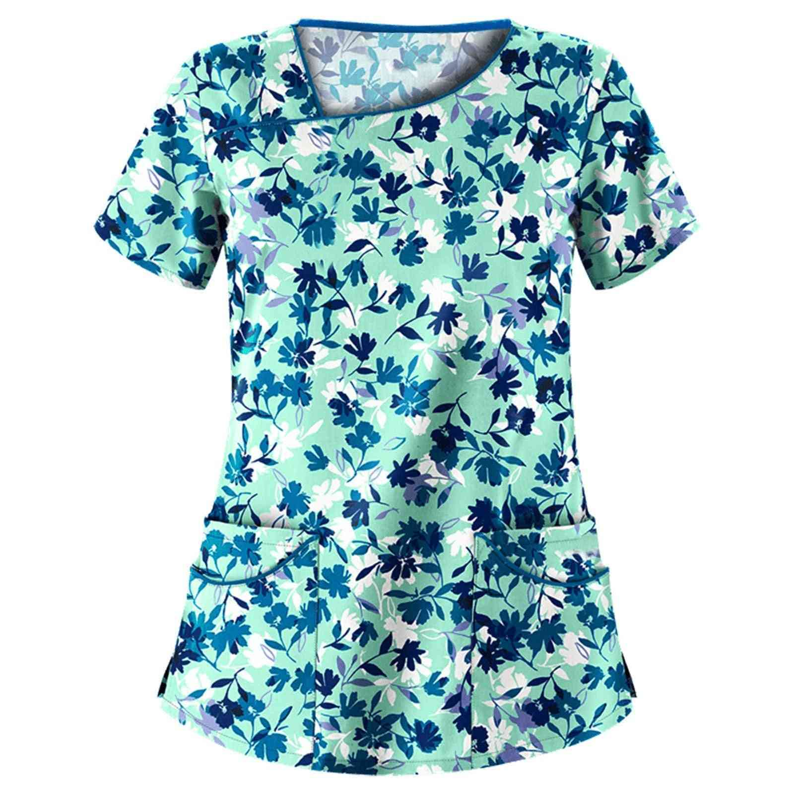 Women Fashion Short Sleeve V-neck Neck Tops Working Uniform Blouse Shirt