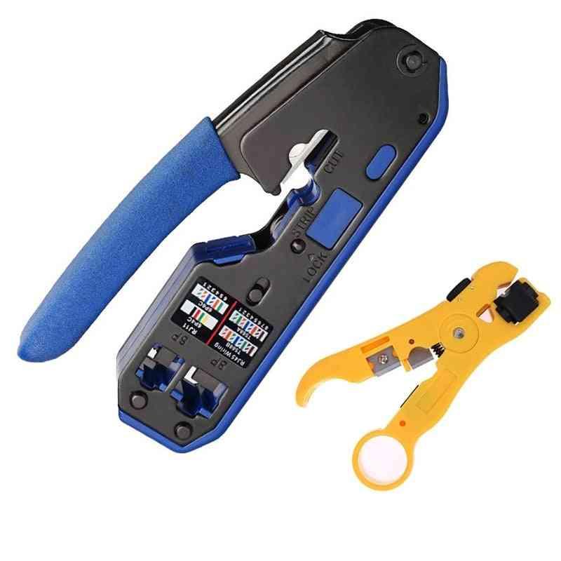 All In One Ez Rj45 Tool Network Crimper Cable Crimping Tools For Rj45 Cat7 Cat6 Cat5 Rj11 Rj12 Modular Plugs Metal Clips Pliers