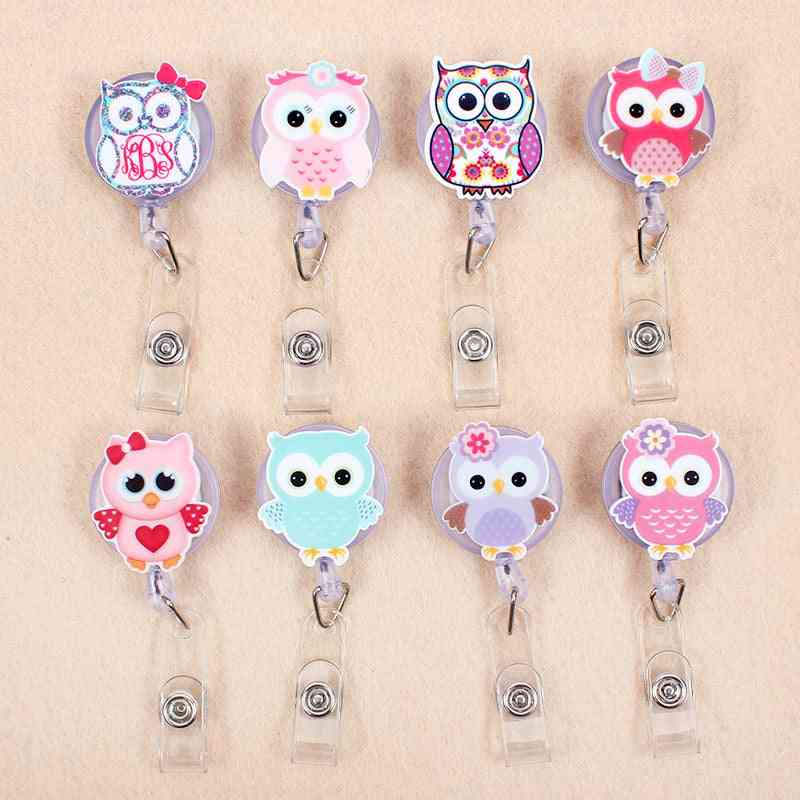 Creative Candy Color Owl Resin Retractable Badge Holder