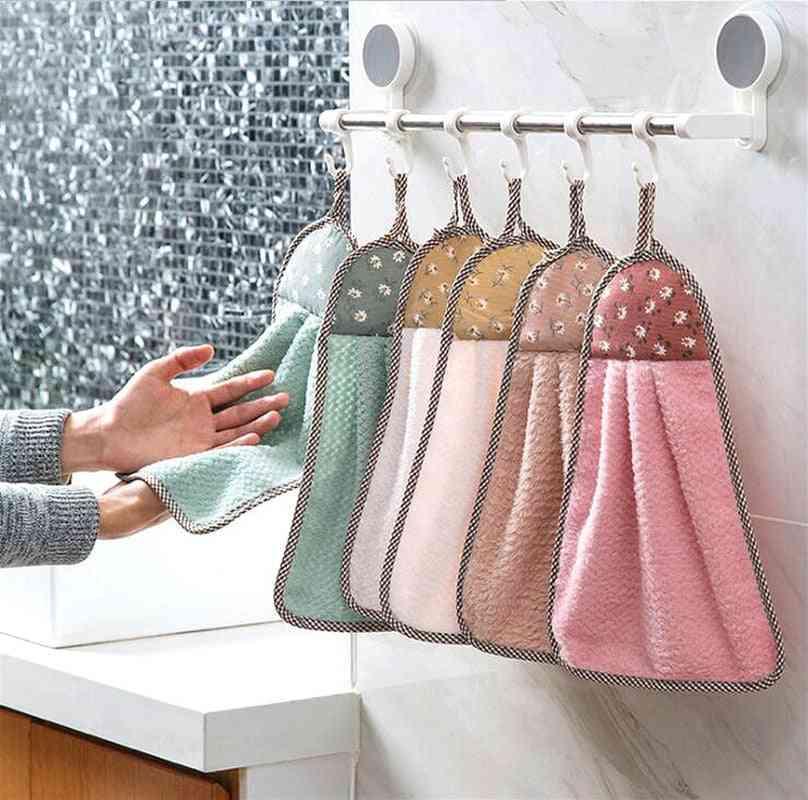 Kitchen Dish Washing Rag Hanging Erasable Towel Cute Absorbent