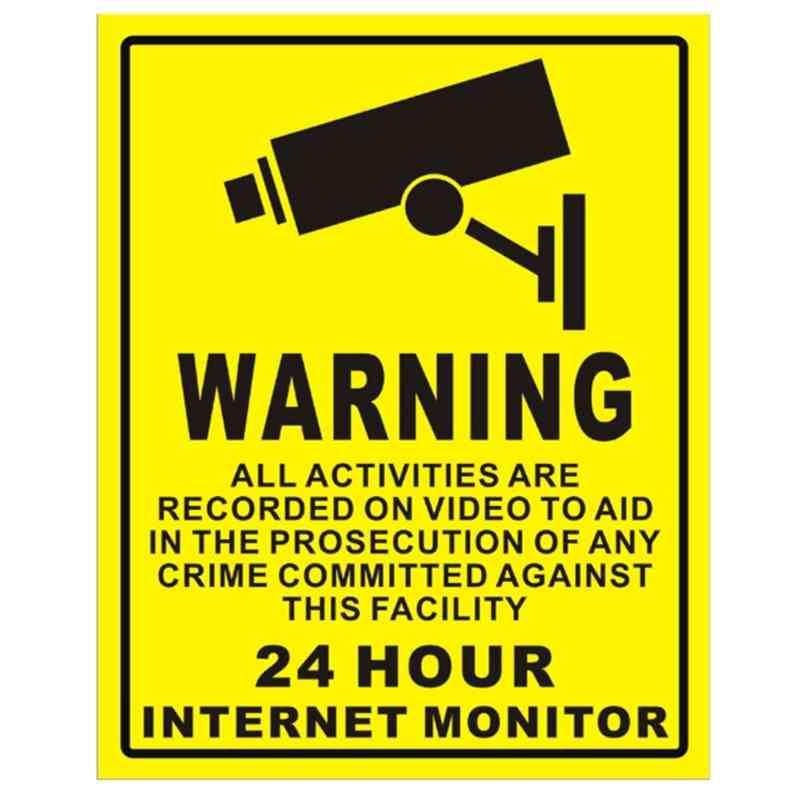 5 Pcs Waterproof Sunscreen Cctv Video Surveillance Security Alarm Sticker