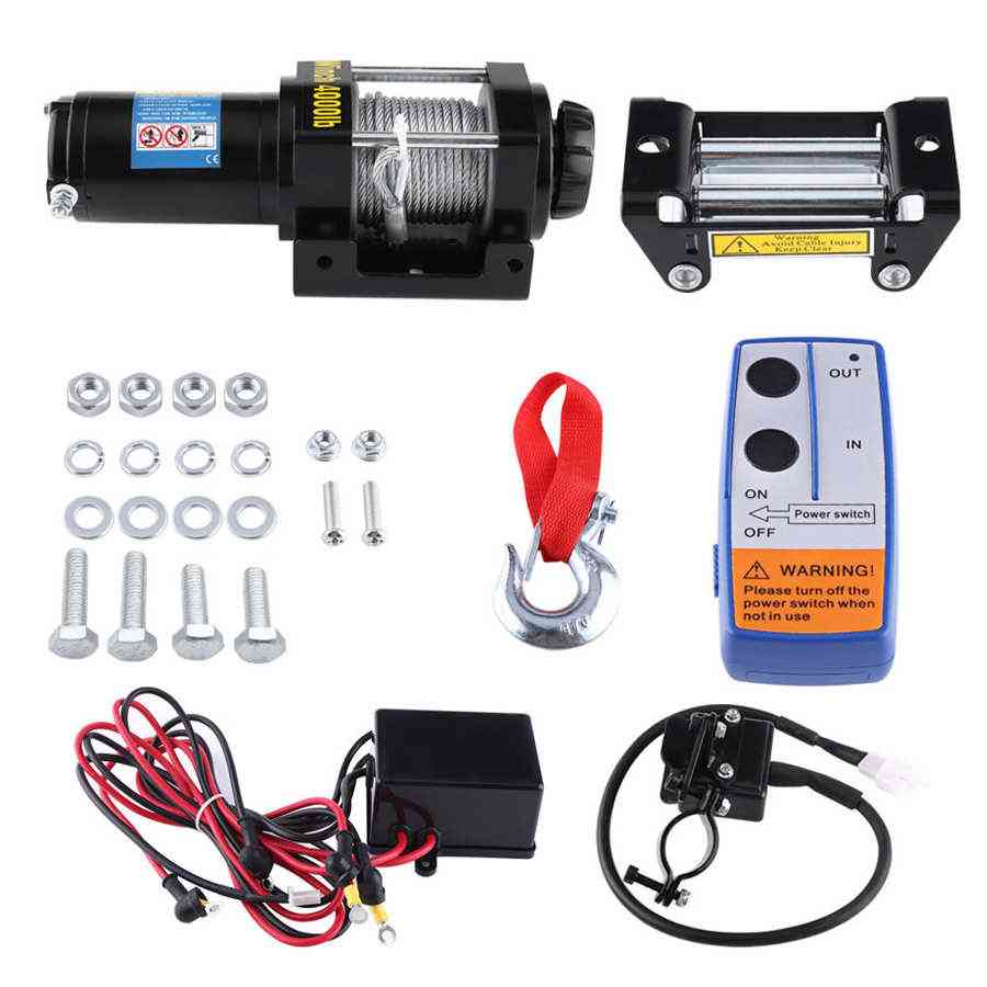 4000lbs Electric Recovery Winch Kit Atv