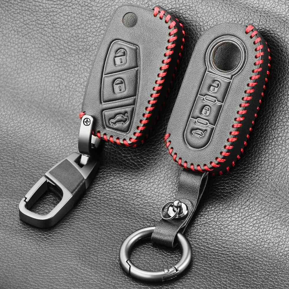 Leather Key, Car Alarm With 3-buttons, Flip-folding Remote Key, Cover Holder