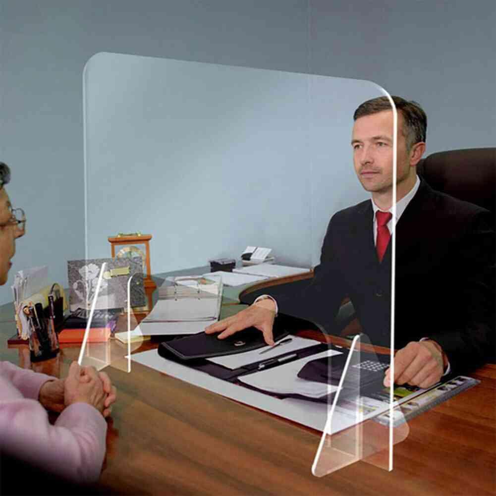 Protective Sneeze Guard Freestanding Transparent Acrylic Shield