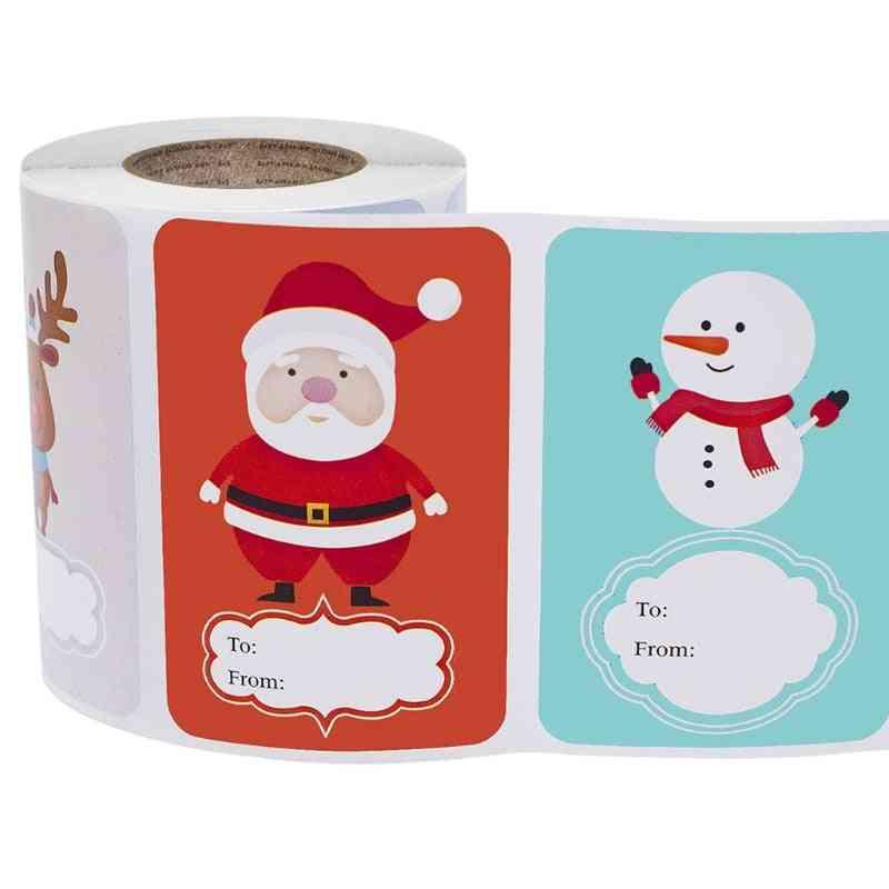 Adhesive Christmas Name Tags Present Seal Labels