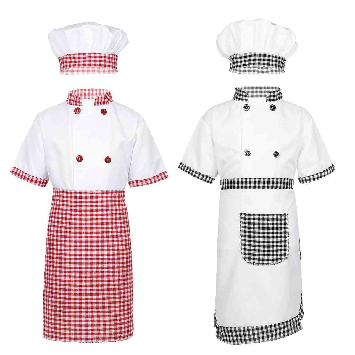 Tiaobug Unisex Chef Uniform Kids Chef Jacket With Apron Hat Kitchen Cook Cosplay Party Halloween Costume Set