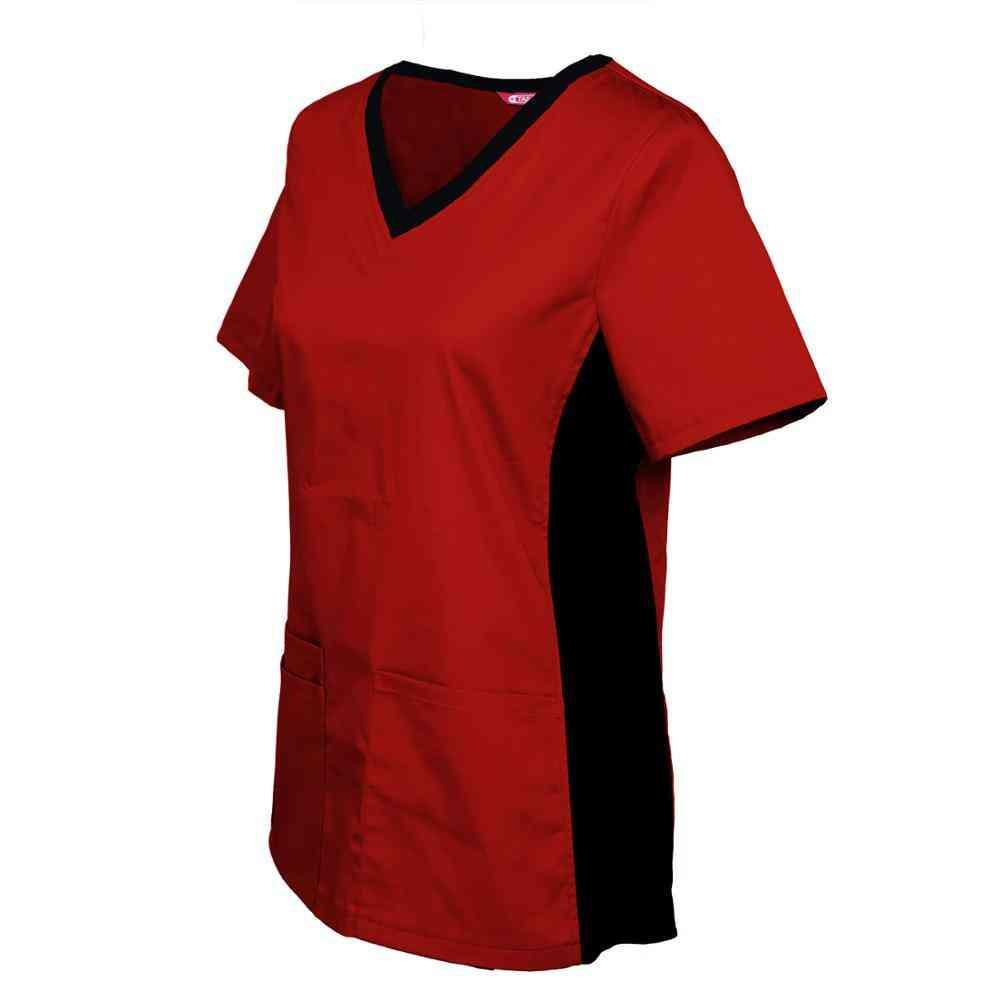 Women's Nursing Uniform Blouse Short Sleeve V-neck Working Tops