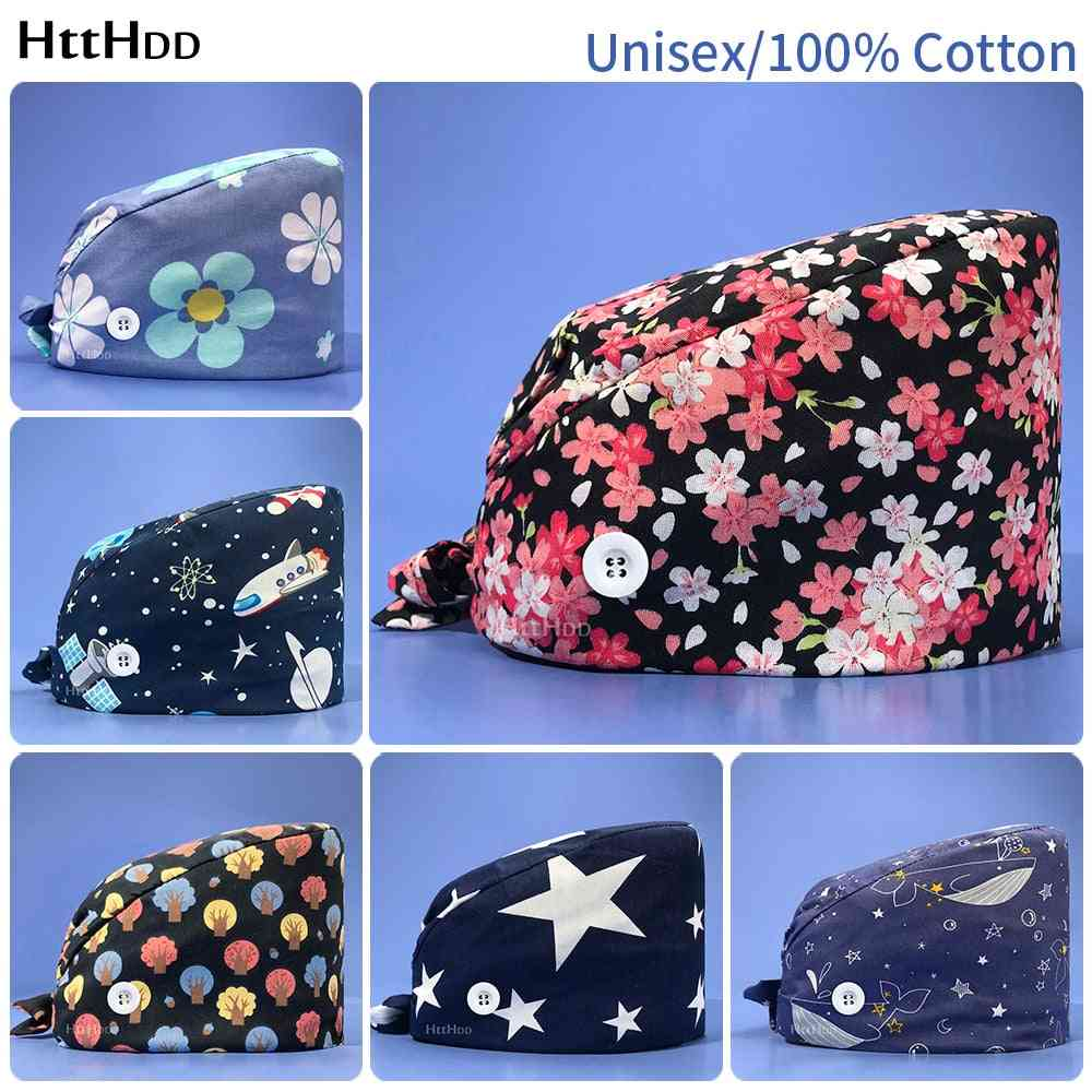 Unisex Flower Printing Frosted Cotton Breathable Nursing Cap