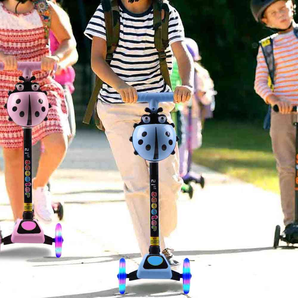 Wheel Kick Scooter, Foot Scooters, Adjustable Height With Led Light Up Wheels, Kids Skateboard