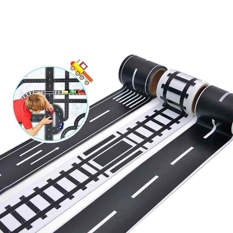 Railway Road Tape, Traffic Track Scene, Washi Sticker, Adhesive Masking Paper, Label For Kids Toy Car Play