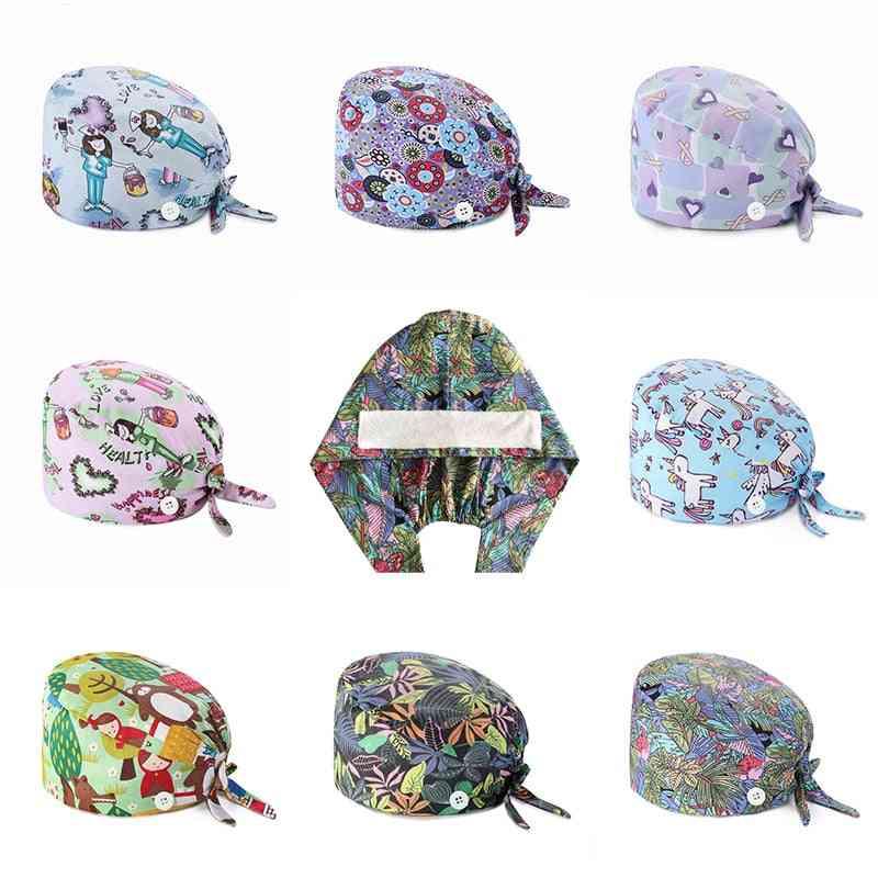 Adjustable Unisex Printing Cotton Scrub Hat