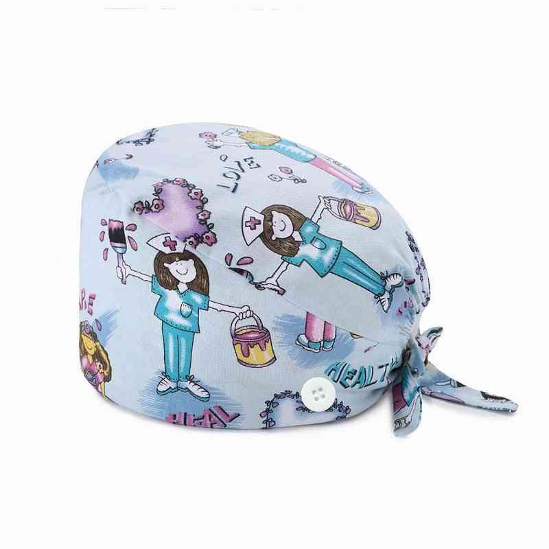 Fashion Breathable Scrub Cap Printed Button Work Hat