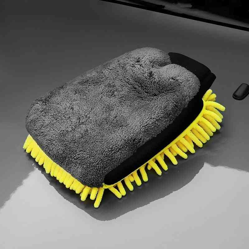 Car Wash- Microfiber Chenille, Double-faced Glove, Cleaning Wax Brush