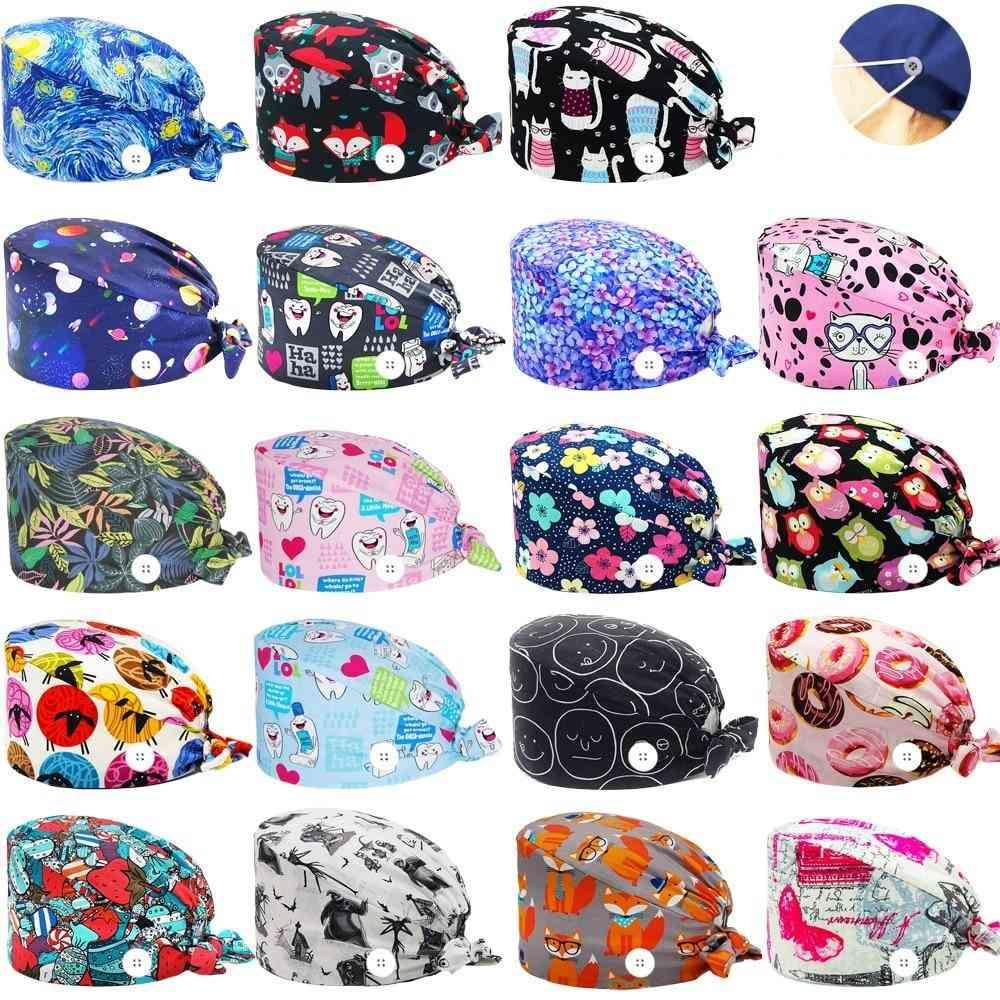 100% Cotton Cartoon Print Nursing Caps - Beauty Salon Shop Nurse Hat