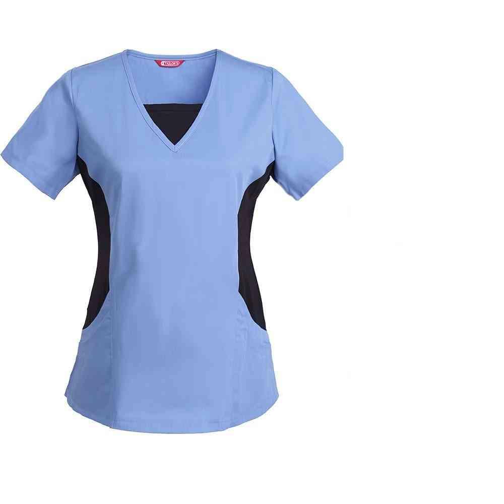 Women's Nursing Uniform Blouse Short Sleeve V-neck Working Top