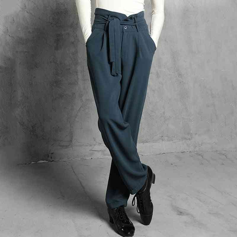 Latin Dance Pants, Male Adult Fashion High Waist Trousers