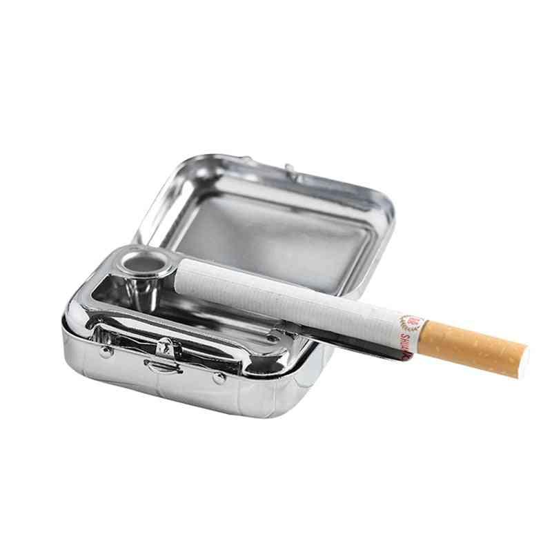 Metal Square, Ashtray Mini Portable With Lid Cigarette, Car Accessories