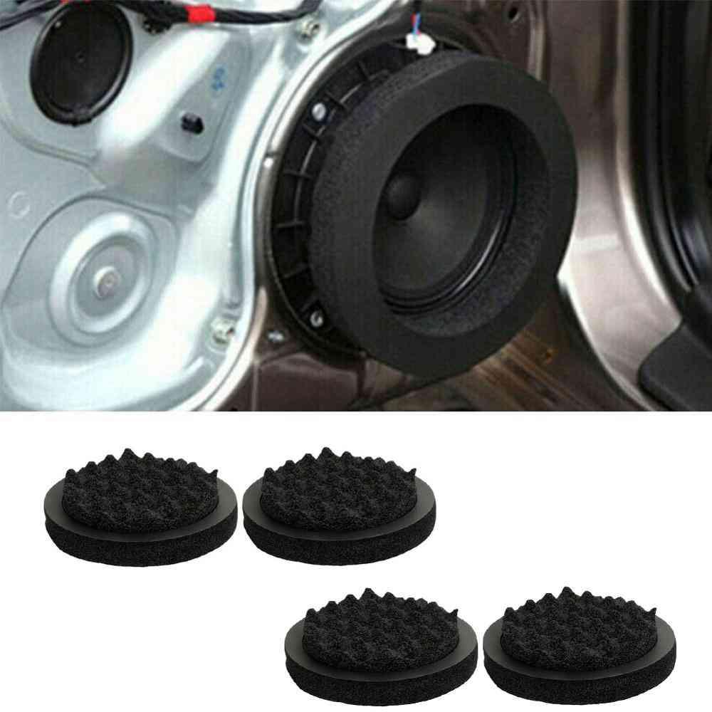 4pcs- Car Speaker, Ring Soundproof, Cotton Pad