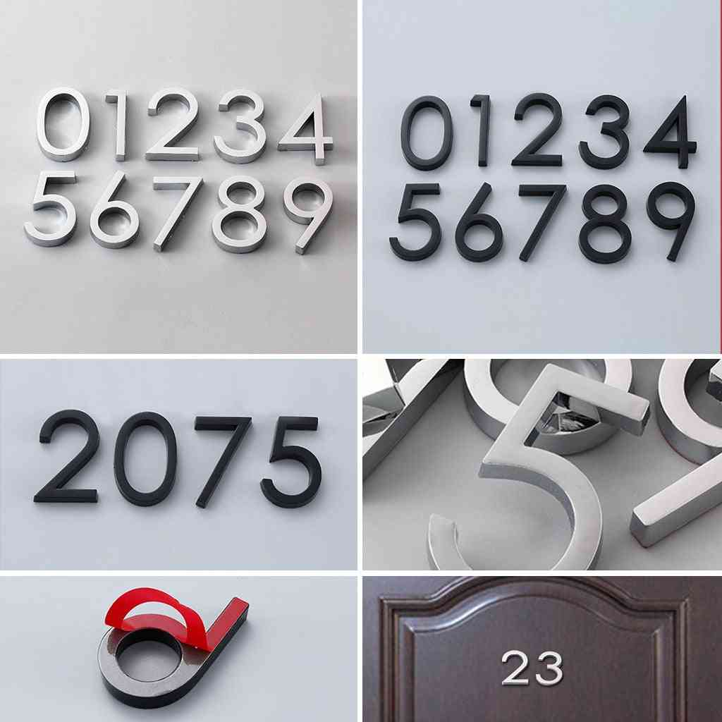 Self Adhesive Modern Door Number Plaque Plate, House, Hotel, Address Digits Sticker Sign