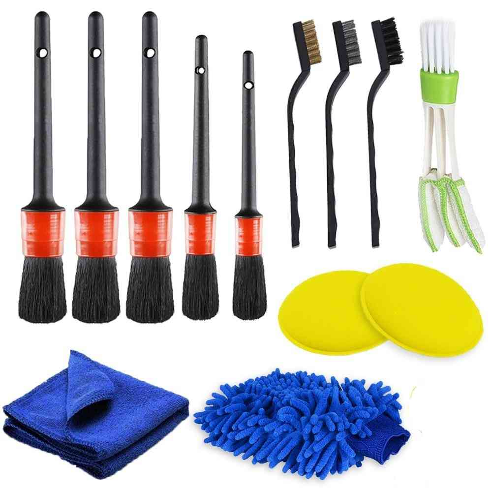 Car Cleaning Detailing Brush Set- Interior Exterior, Leather Air Vents