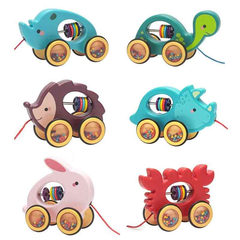 Baby Cartoon Animal Car Pull Rope, Toddler, Kids, Early Educational, Drag Vehicles Rattles