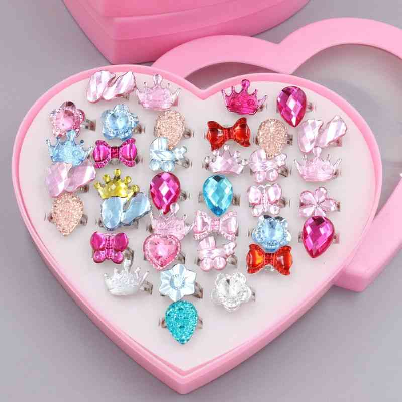 Fancy Adjustable Rhinestone Rings, Princess Party Favors, Kids,, Acrylic Ring Accessories