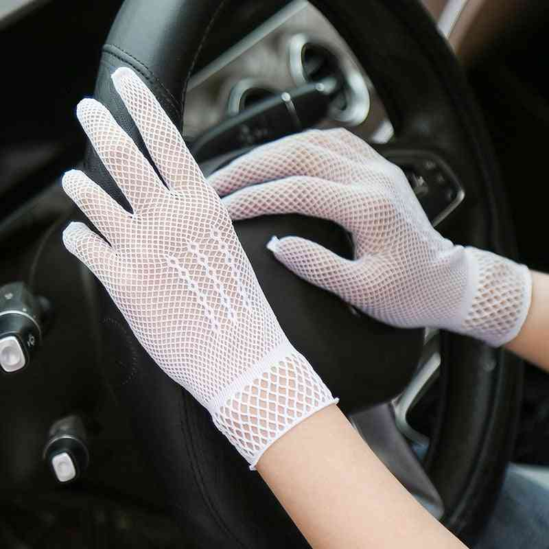 Sexy Lace Out Sunscreen Glove, Women Summer Elastic Glove