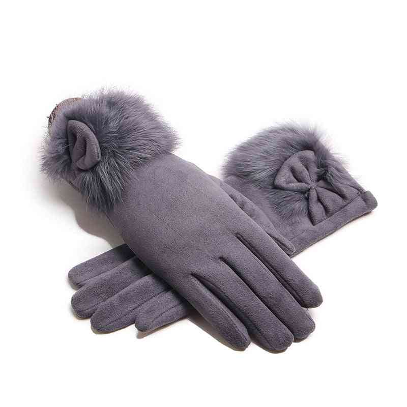 Winter Female Leather Bow Plush Windproof Gloves