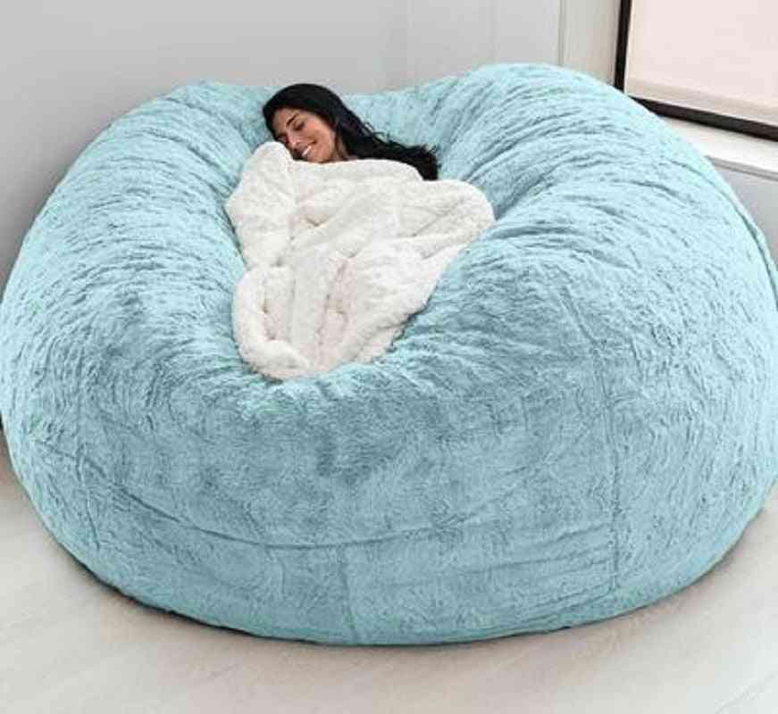 Soft Fur Bean Bag Cover Faux Fur Living Room Sofa For Adult