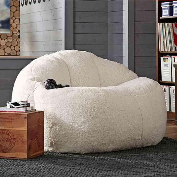 Big Lamb Velvet Bean Bag Sofa Set