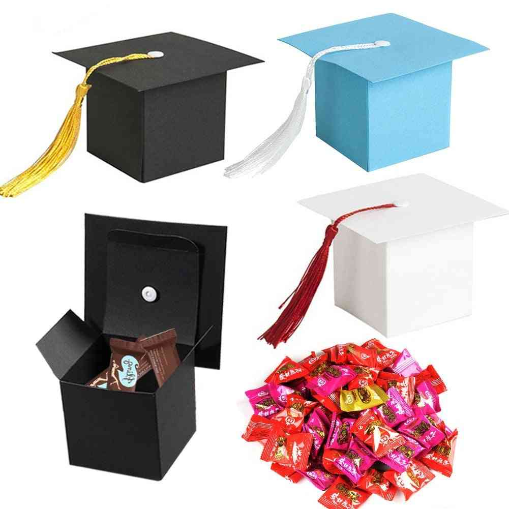 Paper Graduation Cap Candy Treat Boxes Boxes With Tassel.