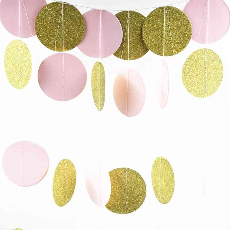 Room Party Decoration, Glitter Circle Polka Pink White Gold Dot.