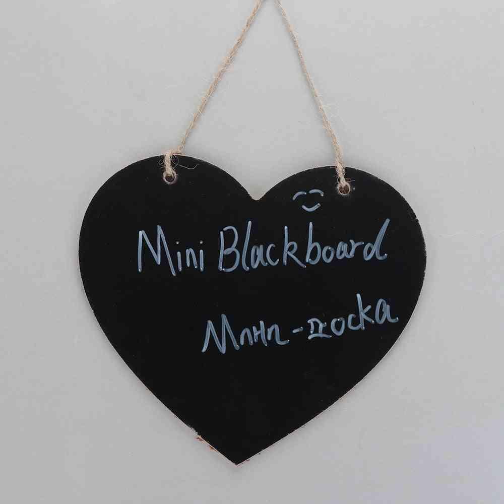 Love Heart Shape Vintage Hanging Wood Blackboard