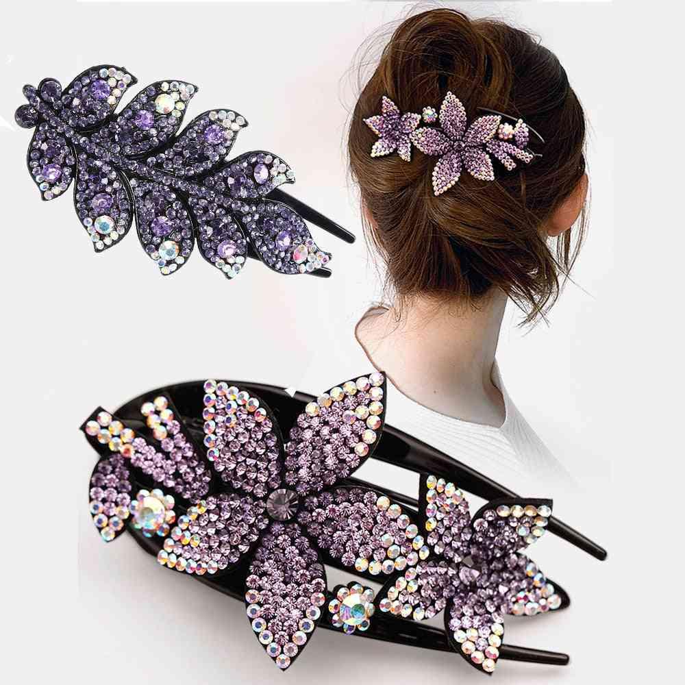 Rhinestone Hairpin Flower Leaf Butterfly Duckbill Hair Claws Headwear