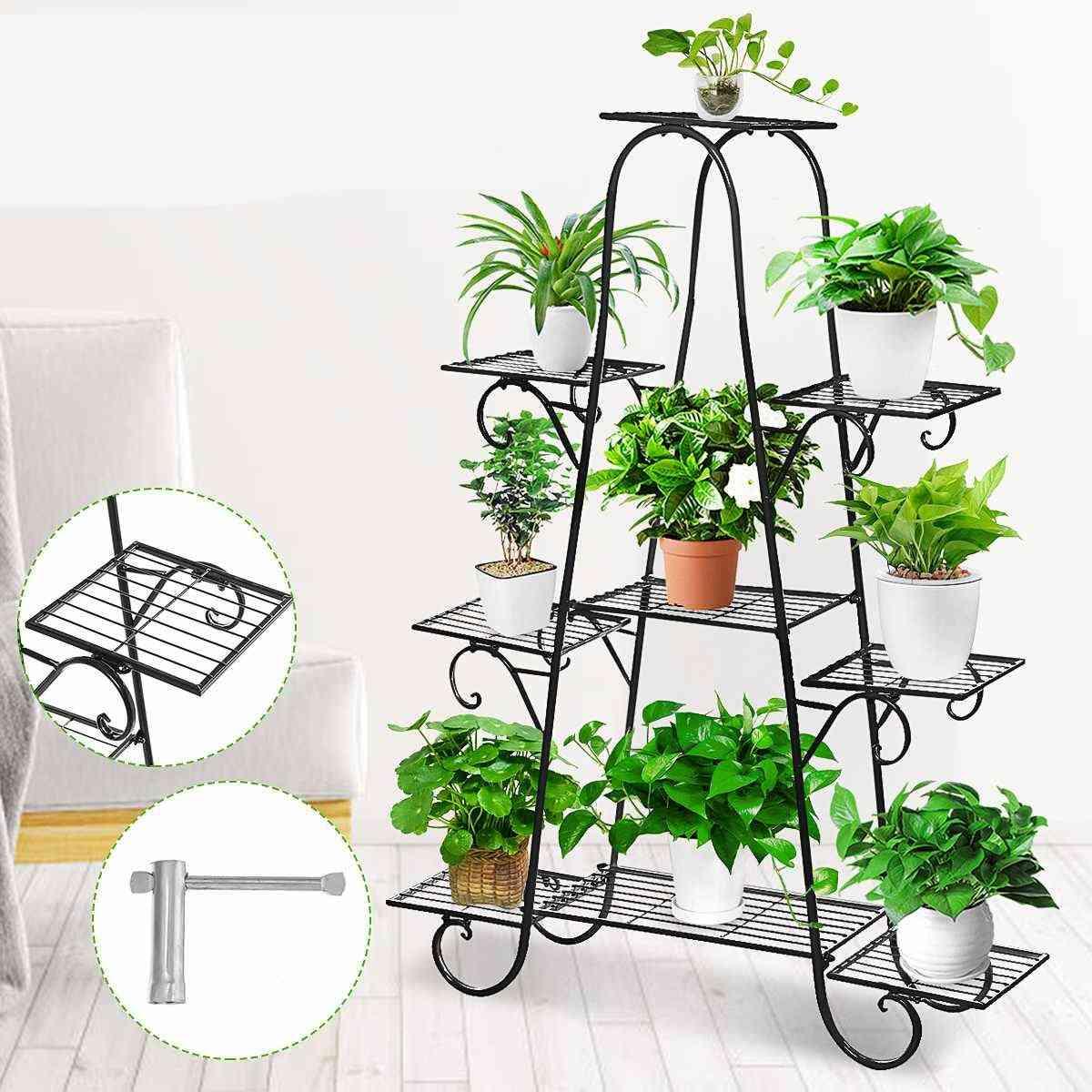 9 Tiers Metal Shelves Flower Rack Plant Stand