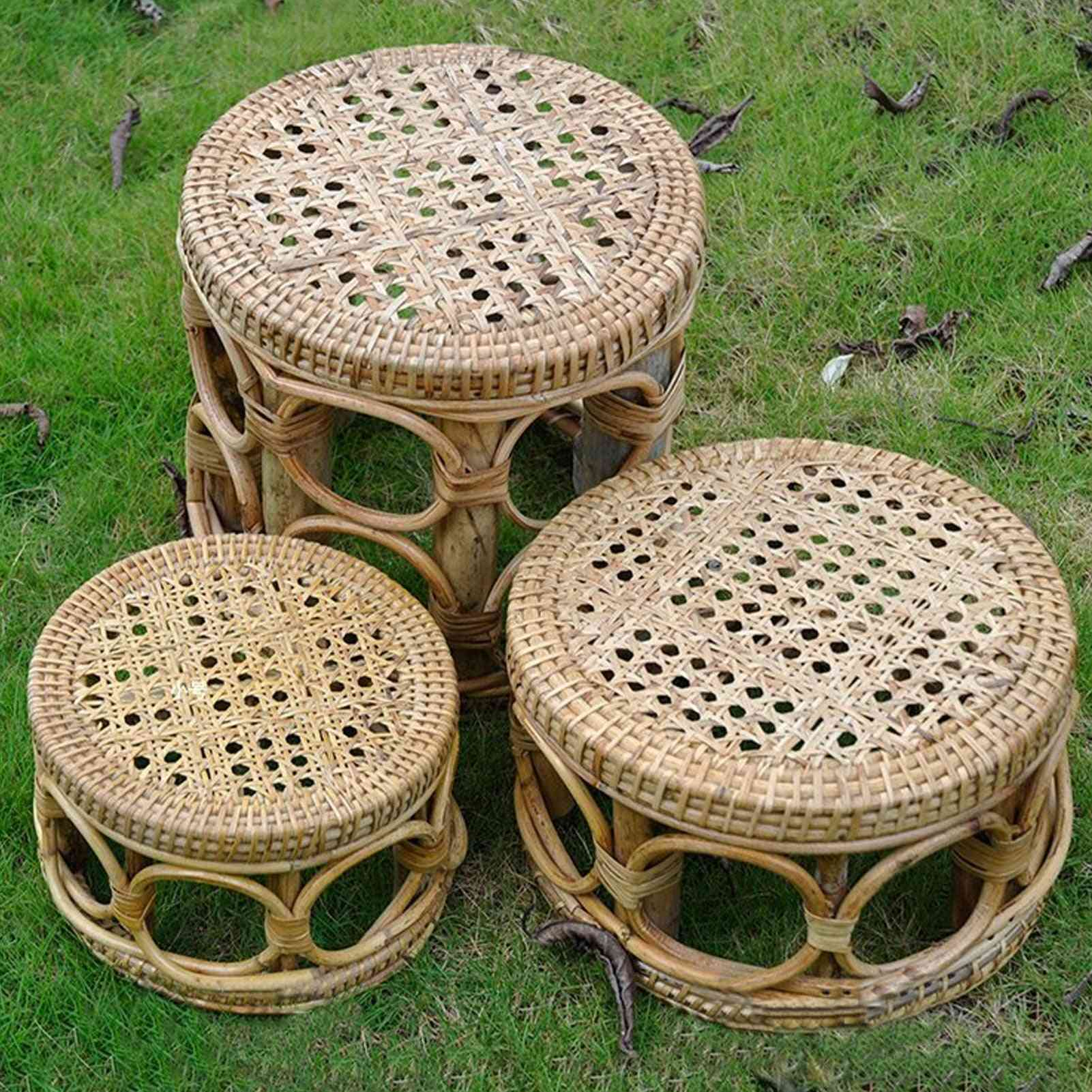 Wooden Nordic Rattan Flower Pot Stand Planter Display Holde