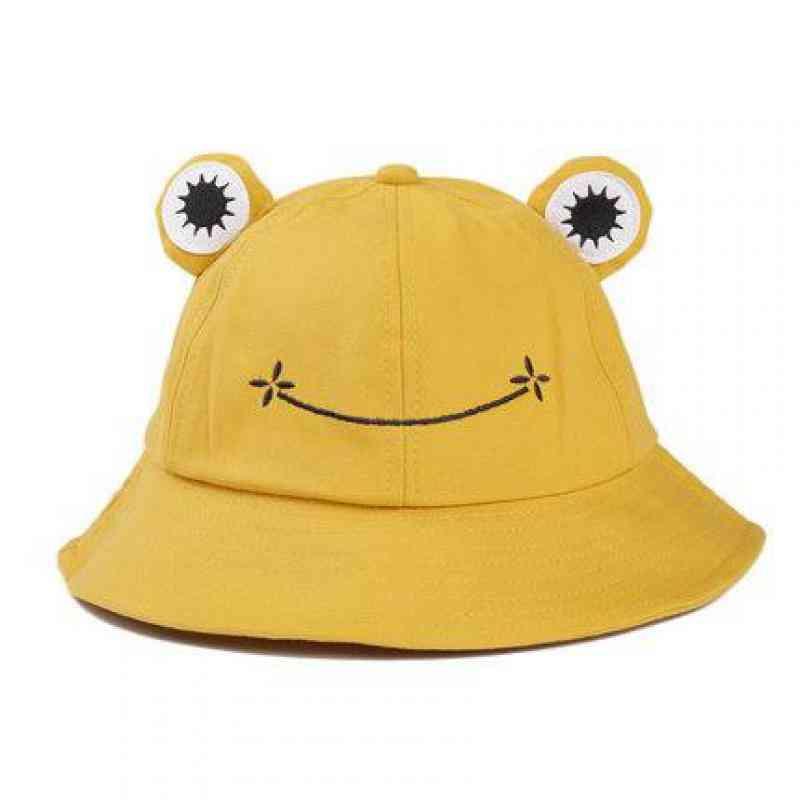 Children Women Fisherman Hats, Summer Cute Frog Cap